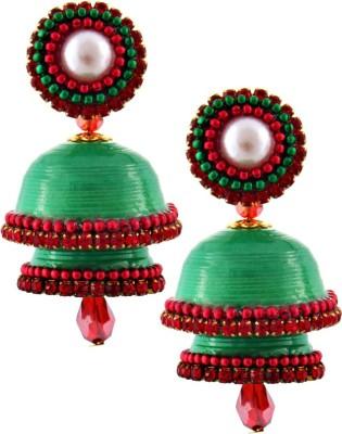 Jaipur Raga Hancrafted Single Stud Green Double Jhumka Brass Jhumki Earring