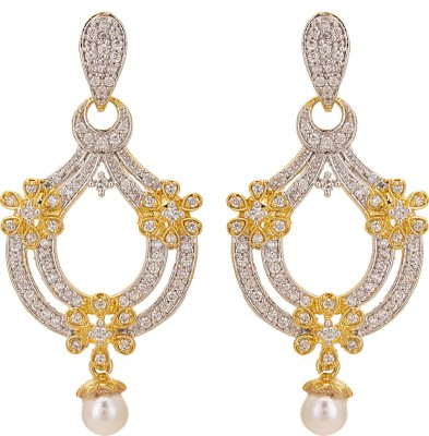 Adwitiya Collection Spring Sparkle Cubic Zirconia Copper Drop Earring