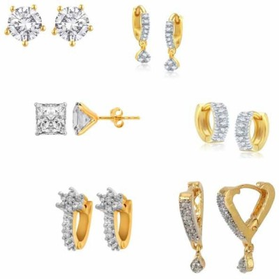 Jewels Guru Just Like Diamond Cubic Zirconia Brass Earring Set
