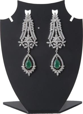 Aaina Home Decor Designer Cubic Zirconia Brass Chandelier Earring