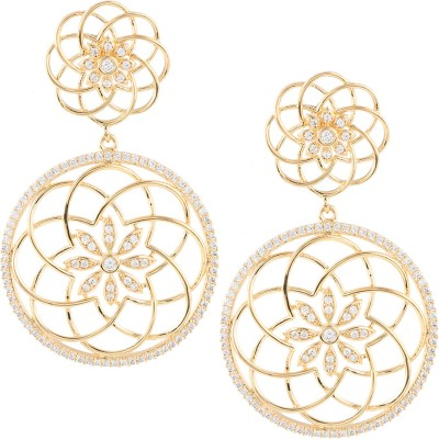 Beautiart Floral Gold Cubic Zirconia Alloy Drop Earring