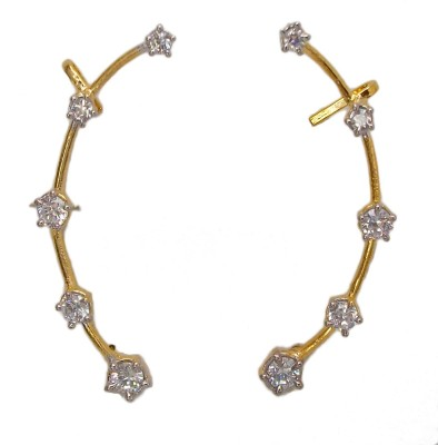 Bandish Gold toned Floral American Diamond Cubic Zirconia Alloy Cuff Earring