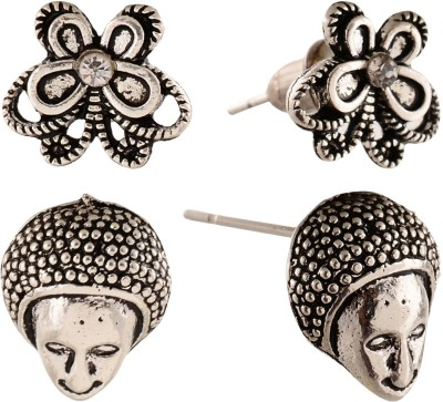 Anokhi Ada Human Face and Butterfly Metal Stud Earring