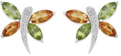 VelvetCase Multi Gemstone 925 Silver Stud Earrings Topaz Silver Stud Earring