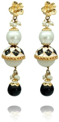 Siyora Siyora black gold plated earrings Cubic Zirconia Brass Drop Earring