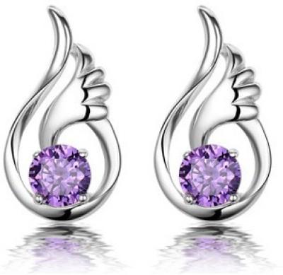 Silver Shoppee Esteem Swarovski Crystal Metal Stud Earring