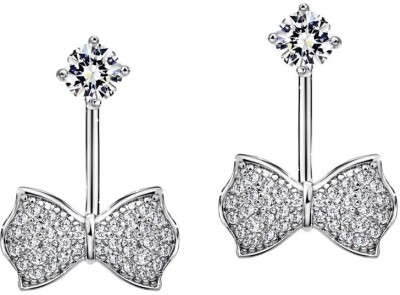 Wearyourfashion Charm Bowknot Double Drop Swarovski Crystal Alloy Drop Earring