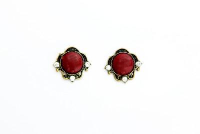 Greek Sojourn 00 Garnet Brass Stud Earring