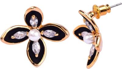 Maisha Trendy black and Gold. Alloy Stud Earring