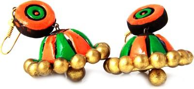 Adaa Handmade Vibrant Colored Jhumka (Orange, Green and Gold) Terracotta Jhumki Earring