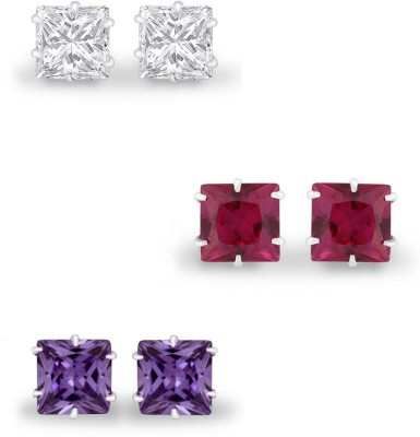 925 Silver 4mm 3 Pair of Princess Cut CZ Combo Pack Cubic Zirconia Silver Earring Set