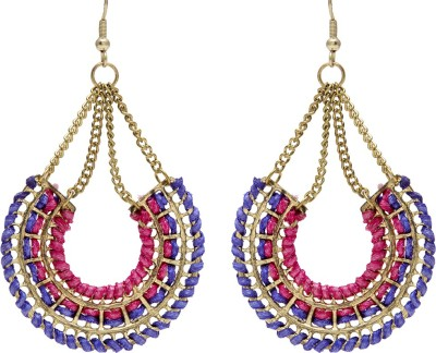 Blueberry Resham Threaded Metal, Silk Dori Dangle Earring