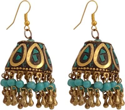Gems N Pearls Tibetan Mosaic Beads Brass Jhumki Earring