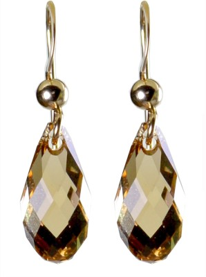 Pearl Paradise Faceted Briolette Golden Shadow Swarovski Crystal Stone Dangle Earring