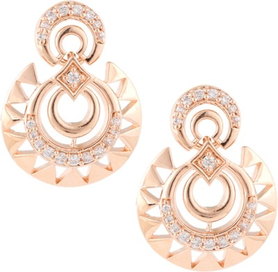 Beautiart Pink Gold Hand Crafted Cubic Zirconia Alloy Chandbali Earring