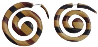 Little Goa Double Spiral Brown Black Stripe Fake Gauge Metal Stud Earring