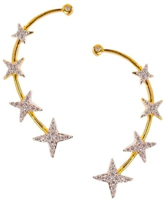 La Amber Star Sparkling Cubic Zirconia Alloy Cuff Earring