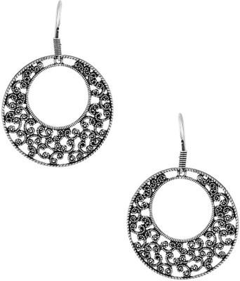 Gemshop Floral Round Inspiration Designer Oxidized Alloy Dangle Earring