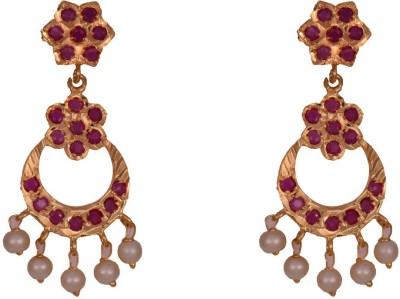 Mahaveer Pearls Antique Brass Chandbali Earring