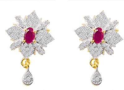 Jewelskaro Antique Designer American Diamond Fashion jewelry Ruby Ruby Brass Drop Earring
