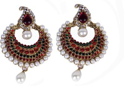 Special U Sparkling Red Brass Chandbali Earring