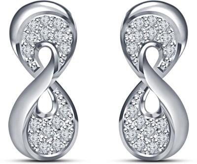 Kirati Infinity Cubic Zirconia Sterling Silver Stud Earring