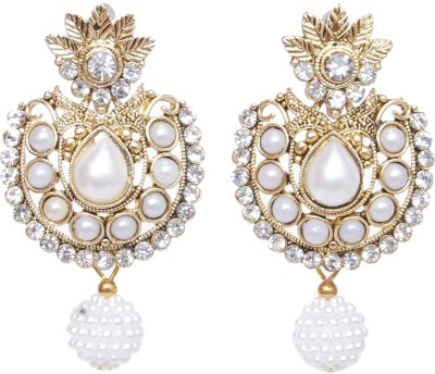 NM Products White Alloy Chandelier Earring