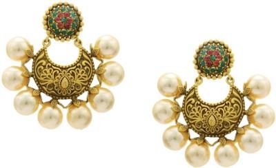 Pearls Cart Antique Golden Stone Studded Ethinic Flower Theme Alloy Chandbali Earring