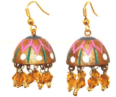 Red Gold Mud Terracotta Jhumki Earring
