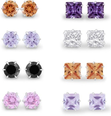 925 Silver 5mm 8 Pair of Colorful Assorted CZ Combo Pack Cubic Zirconia Silver Earring Set
