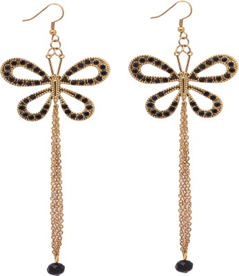 Sankisho Golden Butterfly Drop Metal, Alloy, Glass Dangle Earring