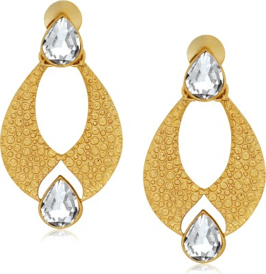 Spargz Designer Oval Shape Hanging With AD Stone Alloy Drop Earring