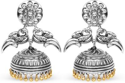 Johareez 36.25 Grams Two Tone Plated Oxidized Brass Bird Shape Jhumka Earrings Brass Jhumki Earring