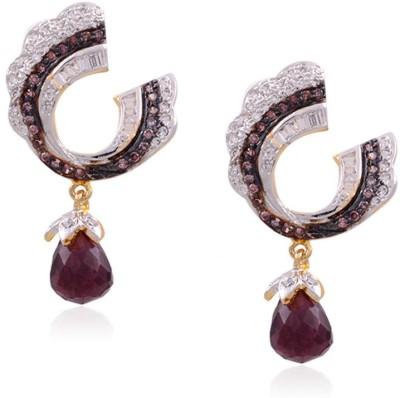 Saga Twisted C Purple Drop Cubic Zirconia Alloy Drop Earring