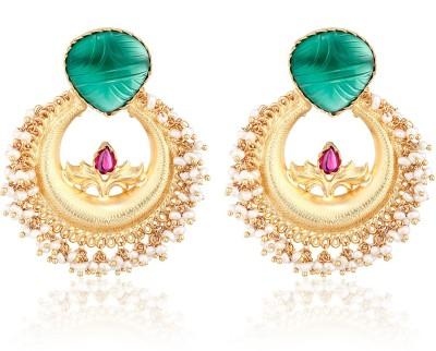 Aarohee Traditional Sparkle Onyx Sterling Silver Chandbali Earring