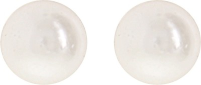 Niara White Small Pearl ER Metal Stud Earring