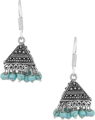 Gemshop PAIR OF OXIDIZED WITH BEADS Alloy Jhumki Earring