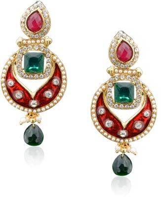 Royal Bling Regal Scarlet Enamel Metal Chandbali Earring