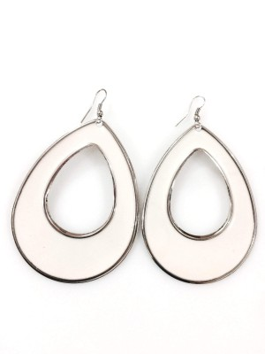 Gliteri white drop shaped classic Metal Dangle Earring