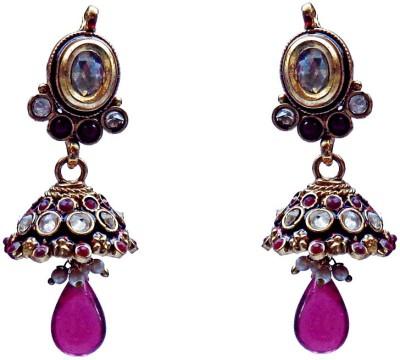Kundaan Indian Traditional Wear Crystal Brass, Copper Jhumki Earring