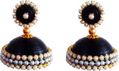 Jyotis Creations Black,& Gold Pearl Alloy Jhumki Earring