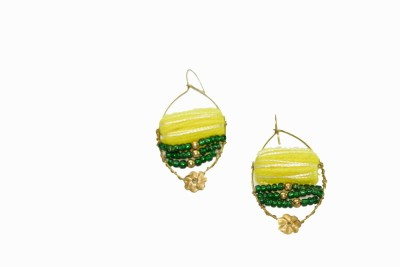 Ba No Batwo Fluorescent Yellow Earrings Cotton Dori, Plastic Dangle Earring