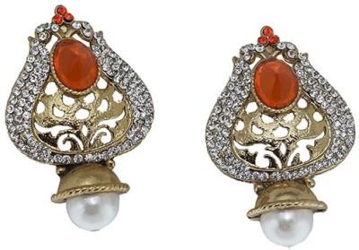 Mrinalini Orange with Pearl Alloy Drop Earring
