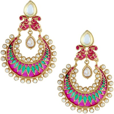 Gold & More Colourful Pearl Alloy Chandbali Earring