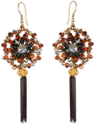 000 Fashions Multicolour Stone Stylish Black Tassel Alloy Dangle Earring