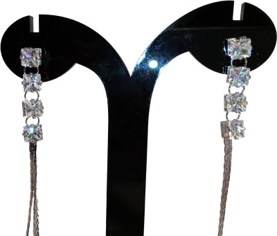 Chains n Charms Silver Chains Crystal Alloy Tassel Earring