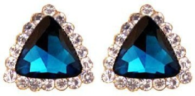 ACW Gold Plated Blue Stone Crystal Triangle Stud Earrings For Women Alloy Stud Earring