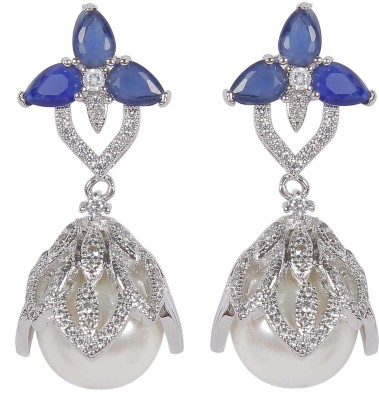 Muchmore Traditional Earring For Woman And Girls For Party And Wedding Occasion Cubic Zirconia, Pearl Alloy Jhumki Earring