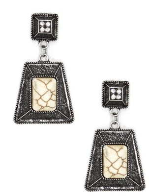 Madclozet Abstract Marble Metal Drop Earring
