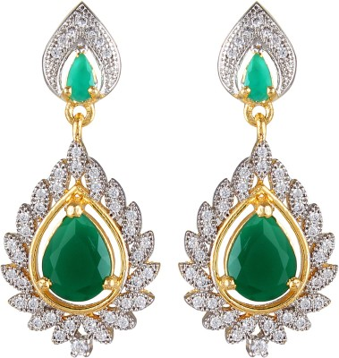 Moda Stella Green Blaze Brass Dangle Earring
